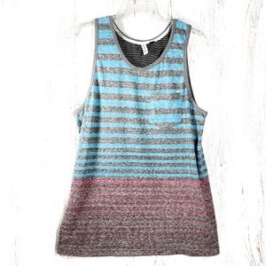 Univibe blue, red, & heather gray striped tank top